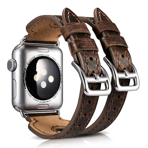 iCarer Classic Double Buckle Cuff Genuine Leather Watchband For Apple Watch