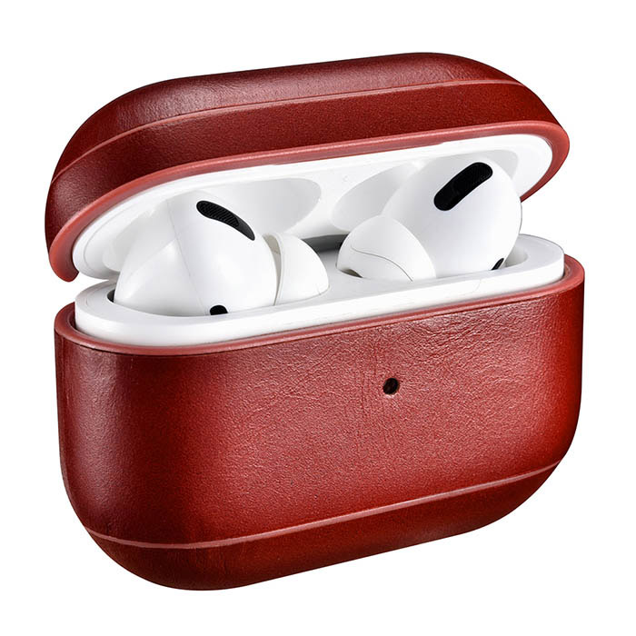 Icarer Airpods Pro Vintage Leather Protective Case Red