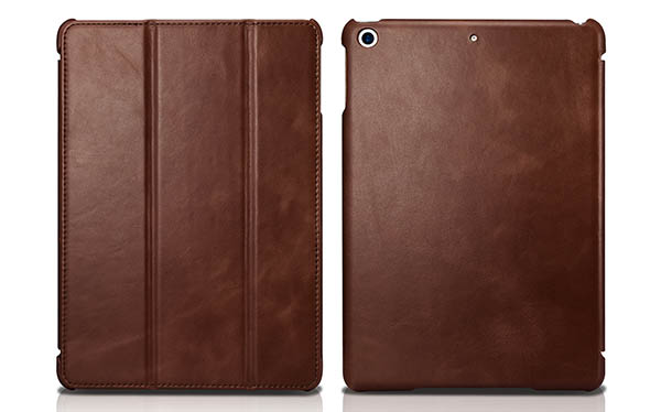 ICARER iPad 9.7 inch 2018 Vintage Tri-fold Stand Genuine Leather Case