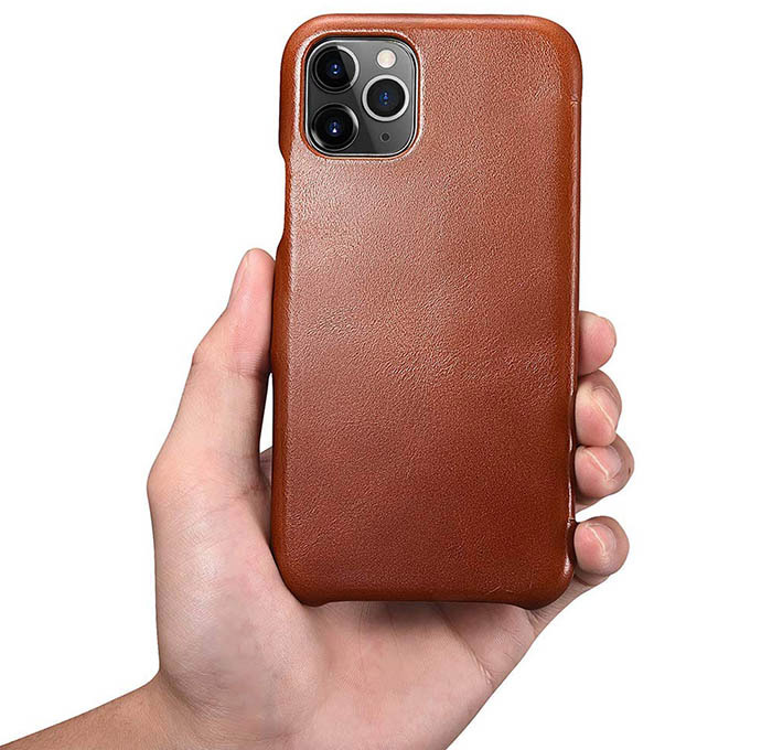 ICARER iPhone 11 Pro Max Vintage Magnetic Closure Genuine Leather Case