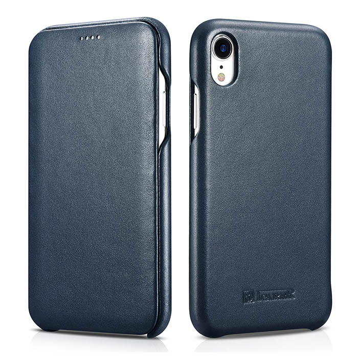 ICARER iPhone XR Curved Edge Luxury Genuine Leather Folio Case