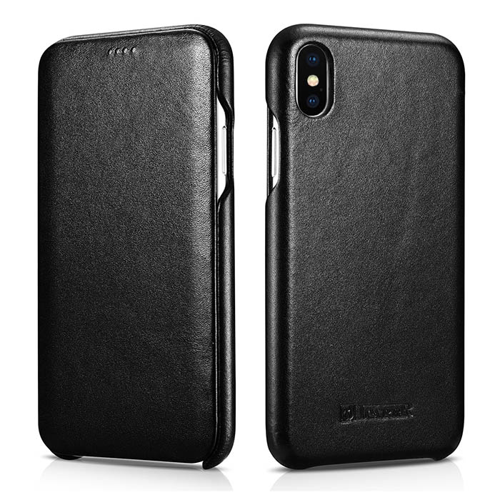 ICARER iPhone Xs Max Curved Edge Luxury Genuine Leather Folio Case