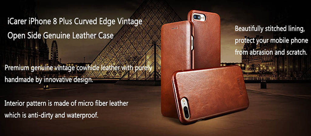 iCarer iPhone 8 Plus Curved Edge Vintage Genuine Leather Case