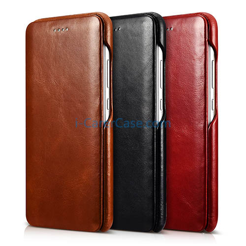 uk availability c03c8 e2789 iCarer Huawei P10 Curved Edge Vintage Side open Genuine Leather Case