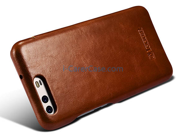 uk availability c835e 4ab23 iCarer Huawei P10 Curved Edge Vintage Side open Genuine Leather Case