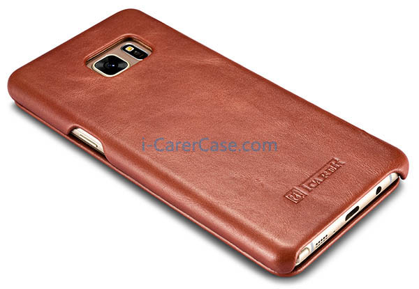 iCarer Samsung Galaxy Note 7 Curved Edge Vintage Series Side open Genuine Leather Case