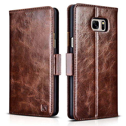 iCarer Samsung Galaxy Note 7 Oil Wax Genuine Leather Wallet Folio Case