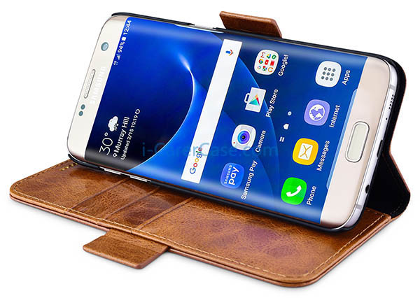iCarer Samsung Galaxy S7 Edge Oil Wax Leather Detachable 2 in 1 Wallet Folio Case