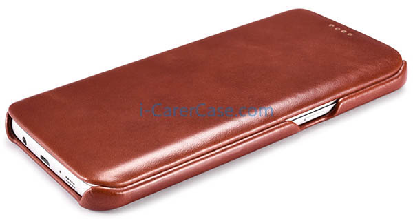 iCarer Samsung Galaxy S7 Edge Vintage Series Side Open Genuine Leather ...