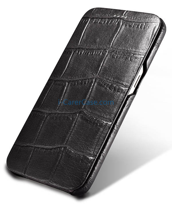 iCarer Samsung Galaxy S7 Embossed Crocodile Genuine Leather Folio Case