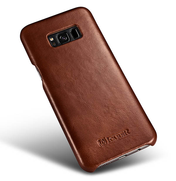iCarer Samsung Galaxy S8 Curved Edge Vintage Genuine Leather Folio Case