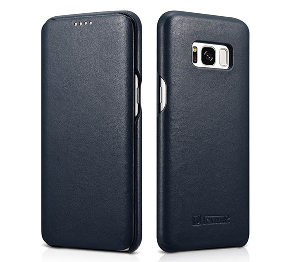 iCarer Samsung Galaxy S8 Plus Curved Edge Luxury Side Open Genuine Leather Case