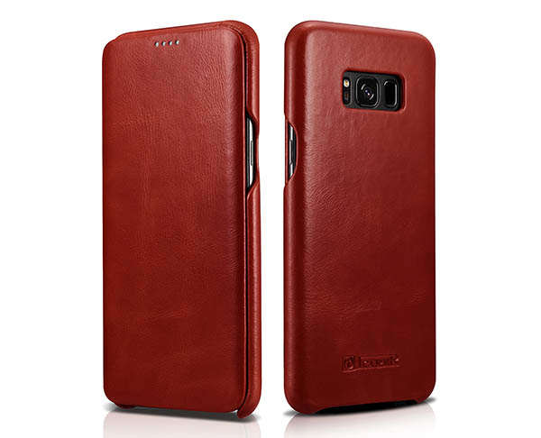iCarer Samsung Galaxy S8 Plus Curved Edge Vintage Genuine Leather Folio Case