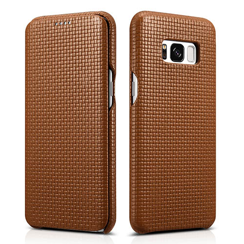 iCarer Samsung Galaxy S8 Plus Woven Pattern Genuine Leather Folio Case
