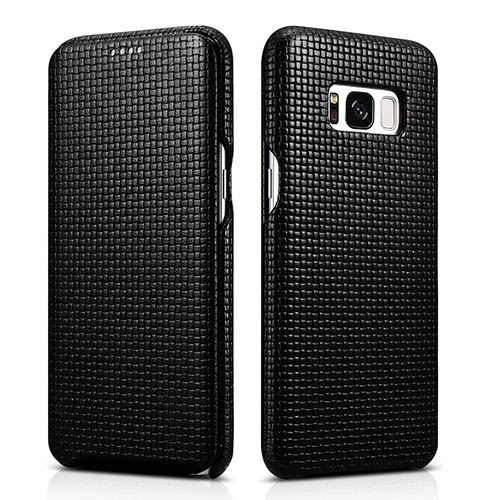 iCarer Samsung Galaxy S8 Woven Pattern Genuine Leather Folio Case