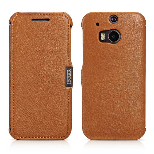 iCarer HTC One M8 Side Open Litchi Pattern Series Genuine Leather Wallet Case Cover