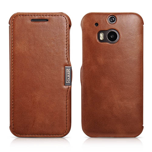 iCarer HTC One M8 Side Open Vintage Series Genuine Leather Wallet Case Cover