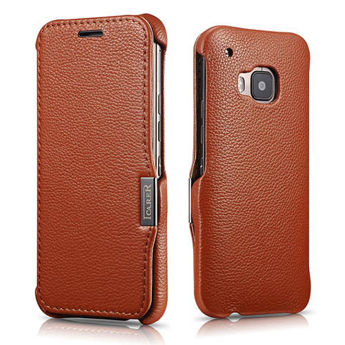 iCarer HTC One M9 Side Open Litchi Pattern Series Genuine Leather Wallet Case Cover