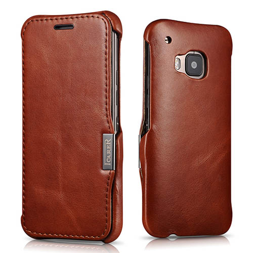 iCarer HTC One M9 Side Open Vintage Series Genuine Leather Wallet Case Cover