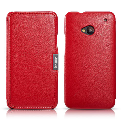 iCarer HTC One Side Open Genuine Leather Wallet Case Cover