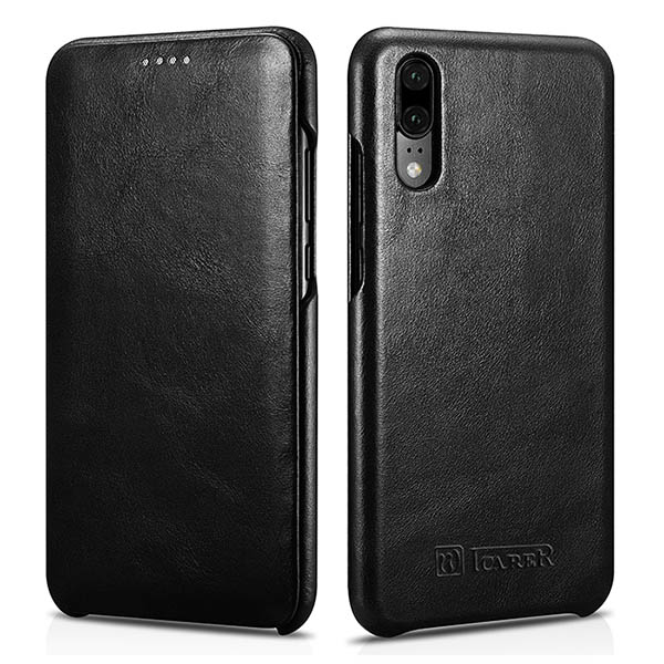 iCarer Huawei P20 Curved Edge Vintage Genuine Leather Folio Case