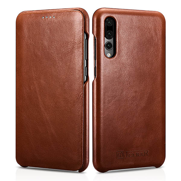 iCarer Huawei P20 Pro Curved Edge Vintage Genuine Leather Folio Case