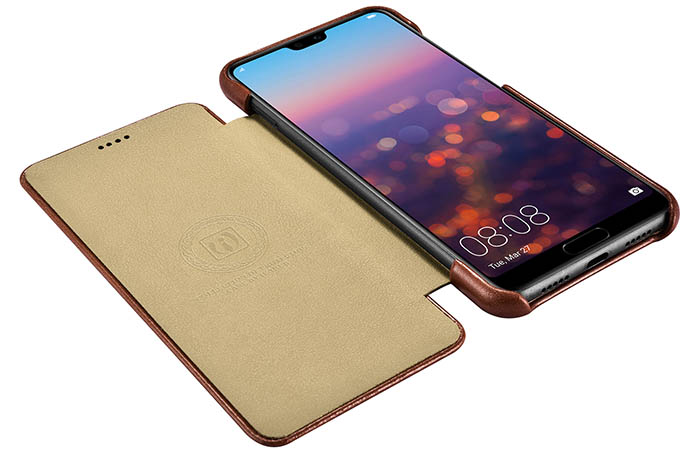 iCarer Huawei P20 Pro Curved Edge Vintage Side Open Genuine Leather Folio Case