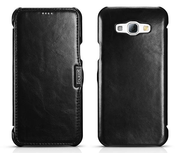 iCarer Samsung Galaxy A8 Vintage Series Open Side Genuine Leather Wallet Case Cover