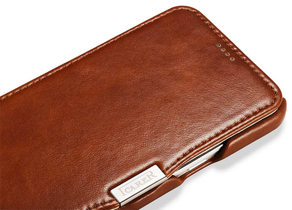 iCarer Vintage Series Open Side Genuine Leather Wallet Case Cover For Samsung Galaxy A8