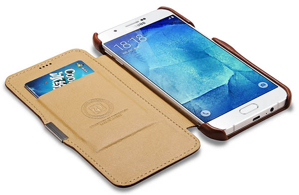 iCarer Samsung Galaxy A8 Vintage Series Leather Wallet Case Cover