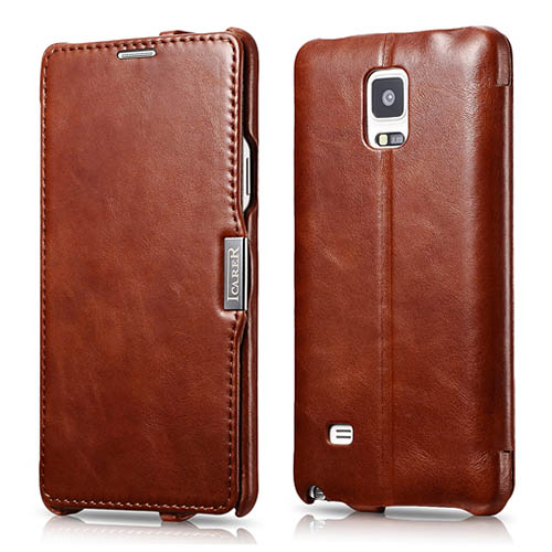 meet 69e1c c2c7e iCarer Samsung Galaxy Note 4 Side Open Vintage Series Leather Wallet Stand  Case Cover