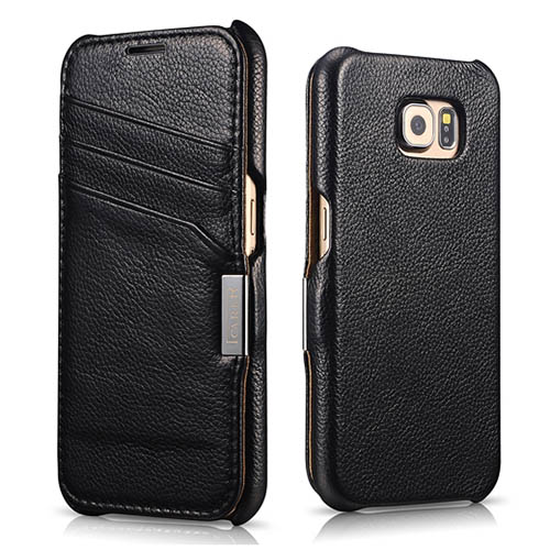 iCarer Samsung Galaxy S6 Side Open Card Slot Litchi Pattern Series Genuine Leather Wallet Case Cover