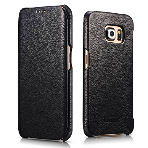 iCarer Samsung Galaxy S6 Edge Side Open Litchi Pattern Series Genuine Leather Case Cover
