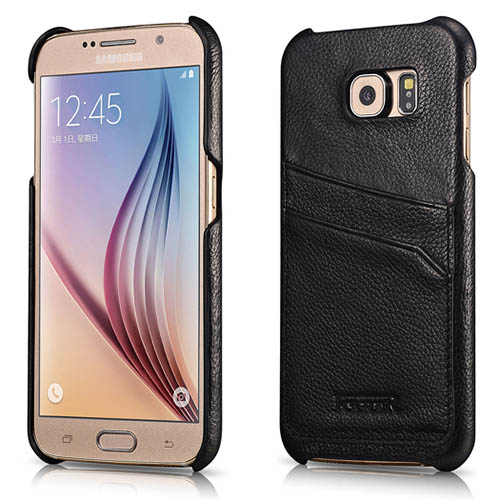 iCarer Samsung Galaxy S6 Litchi Pattern Card slot Back Cover Series Genuine Leather Case