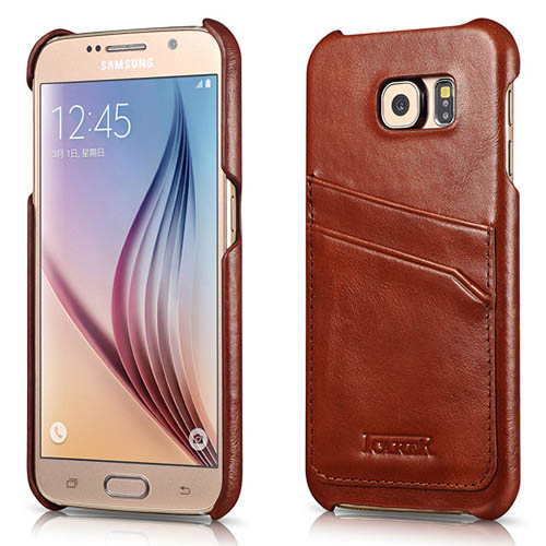 iCarer Samsung Galaxy S6 Vintage Card slot Back Cover Series Genuine Leather Case