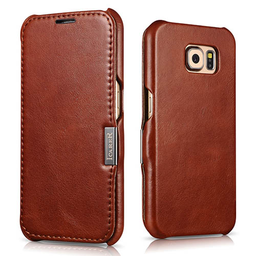 iCarer Samsung Galaxy S6 Side Open Vintage Series Genuine Leather Case Cover