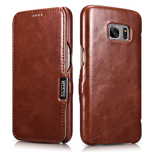 iCarer Samsung Galaxy S7 Vintage Series Side Open Genuine Leather Case