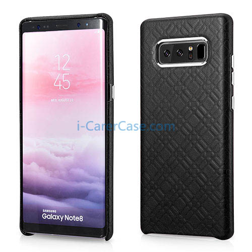 iCarer Samsung Galaxy Note 8 Check Pattern Luxury Back Cover Cowhide Leather Case
