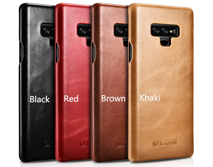 brand new b21e1 d6e03 iCarer Samsung Galaxy Note 9 Vintage Genuine Leather Case