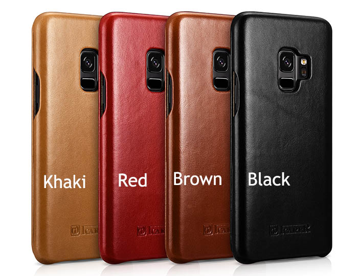 sale retailer 7e63f d84dd iCarer Samsung Galaxy S9 Curved Edge Vintage Side Open Genuine Leather Case