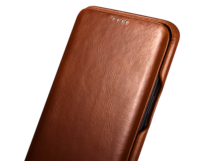 iCarer Samsung Galaxy S9 Curved Edge Vintage Side Open Genuine Leather Case