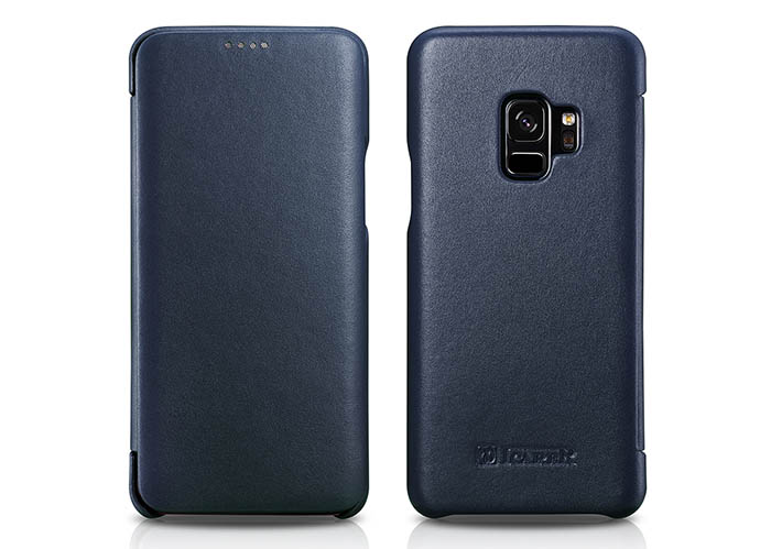 iCarer Samsung Galaxy S9 Curved Edge Luxury Side Open Genuine Leather Case