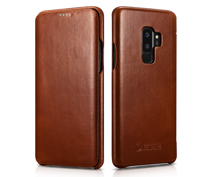 iCarer Samsung Galaxy S9 Plus Curved Edge Vintage Side Open Genuine Leather Case