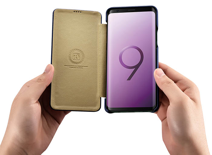 iCarer Samsung Galaxy S9 Plus Curved Edge Luxury Side Open Genuine Leather Case