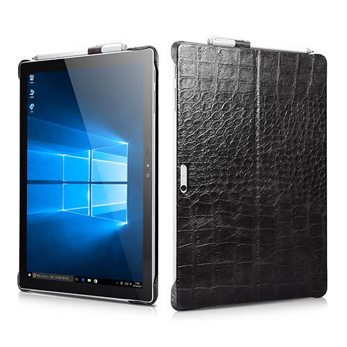 iCarer Surface Pro 4 Embossed Crocodile Genuine Leather Back Cover Case