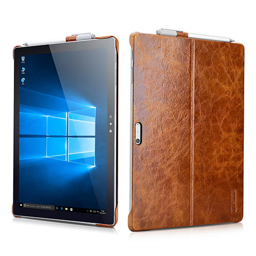 iCarer Surface Pro 4 Oil Wax Vintage Genuine Leather Back Cover Case