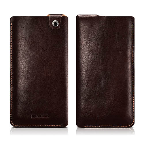 iCarer Vegetable Tanned Leather 4.7 inch Straight Universal Mobile Phone Pouch