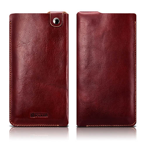 iCarer Vegetable Tanned Leather 5.5 inch Straight Universal Mobile Phone Pouch