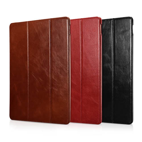 iCarer iPad Pro 12.9 inch 2017 Vintage Side Open Triple Folded Genuine Leather Case
