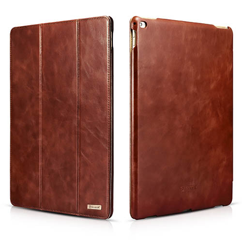 iCarer iPad Pro 12.9 inch Vintage Series With Triple Folded Design Real Cowhide Leather Case